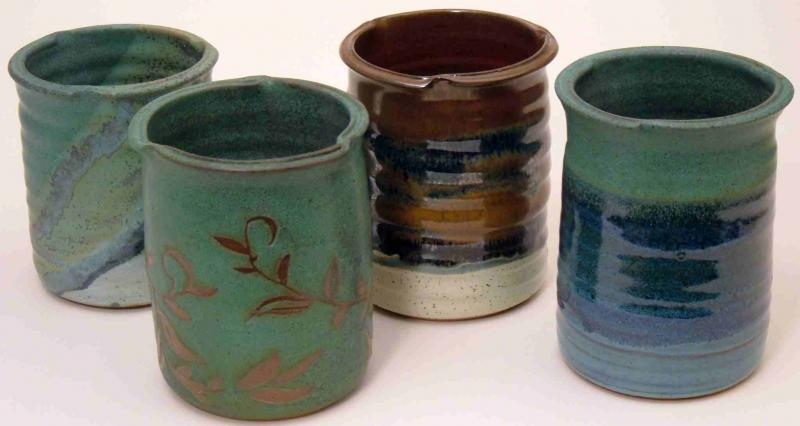 Utensil jars in greenland, vine, redearth, and  land and sea.